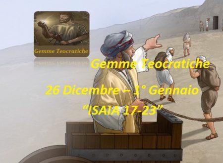 "Gemme Spirituali  26 Dicembre – 1° Gennaio  ""ISAIA 17-23″"