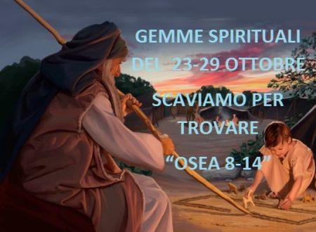"""GEMME SPIRITUALI DEL  23-29 OTTOBRE  SCAVIAMO PER TROVARE """"OSEA 8-14"""""""